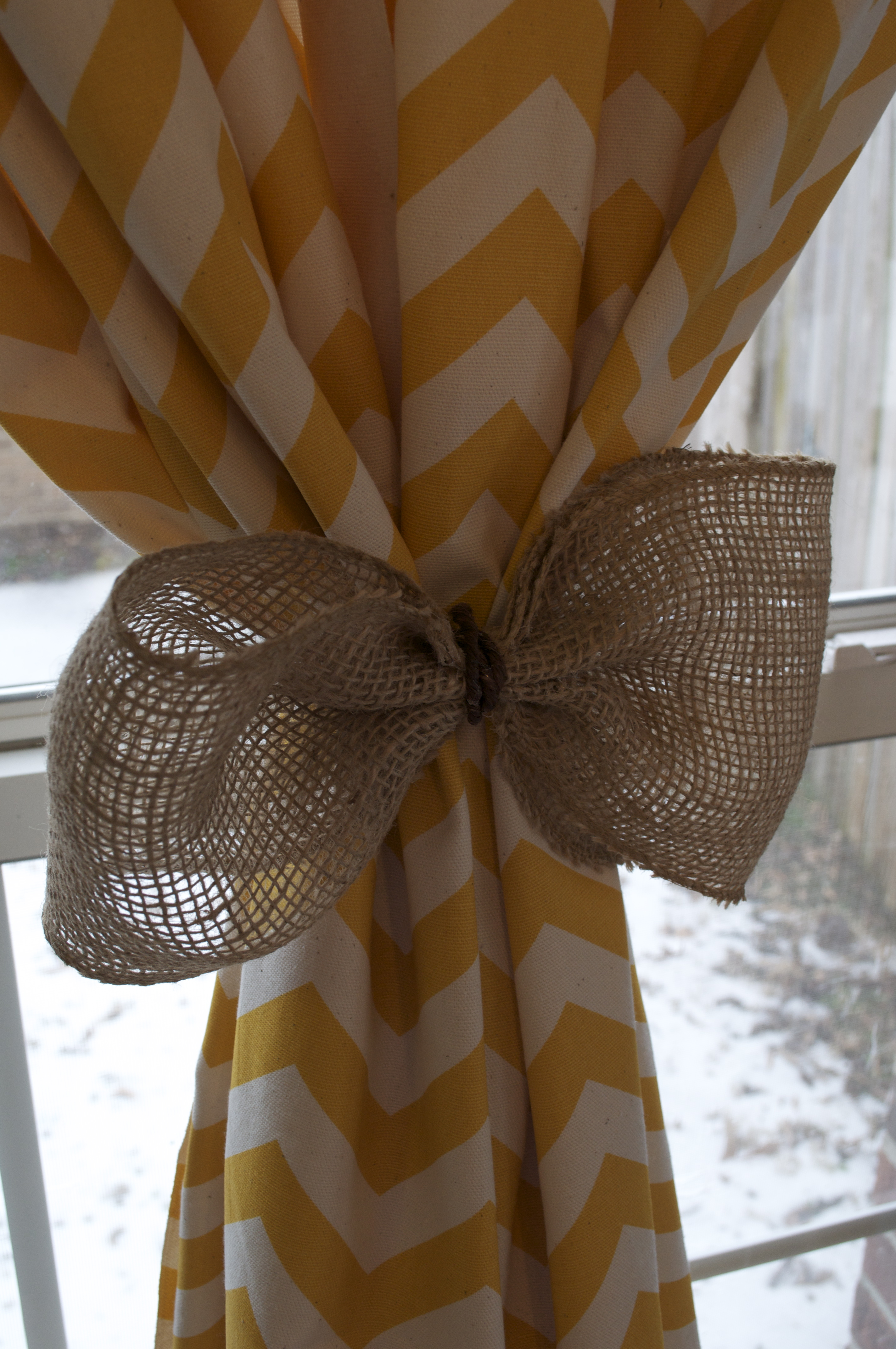 Chevron Curtains And Burlap Tie Backs Thoughts And Songs