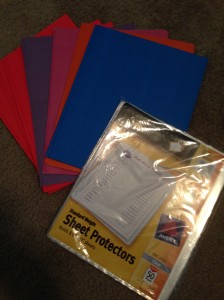 page protectors and 3-pronged folders (I'd recommend plastic)