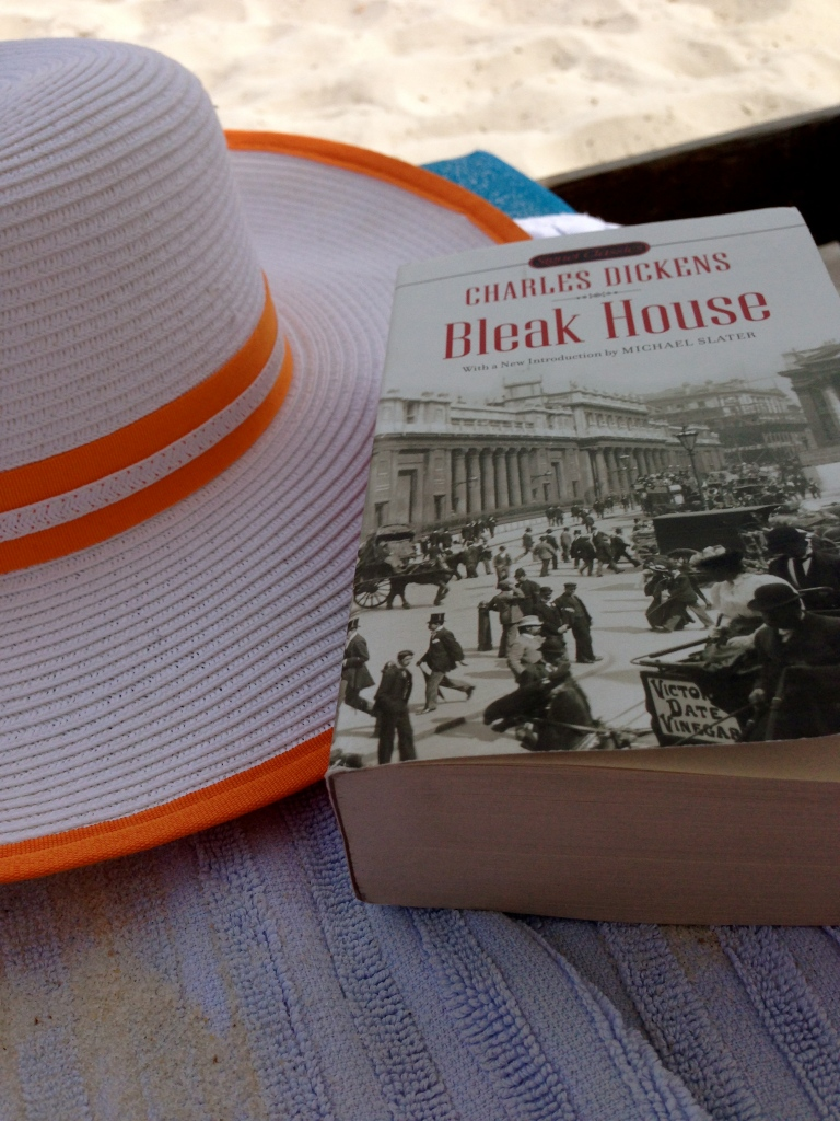 Beach necessities: a floppy hat and a good book