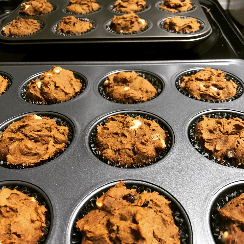white chocolate pumpkin cranberry muffins